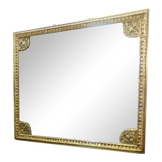 French Style Brass Beveled Glass Dresser Mirror For Sale