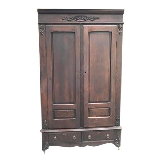 Late 1800s Mahogany Armoire With Brass Eagle Drawer Pulls For Sale