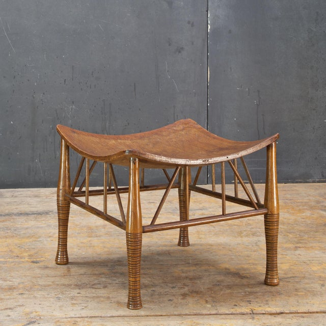 1910s Old Victorian Liberty Thebes Stool Bohemian Egyptian Revival Rustic Cabin Modern For Sale - Image 5 of 8
