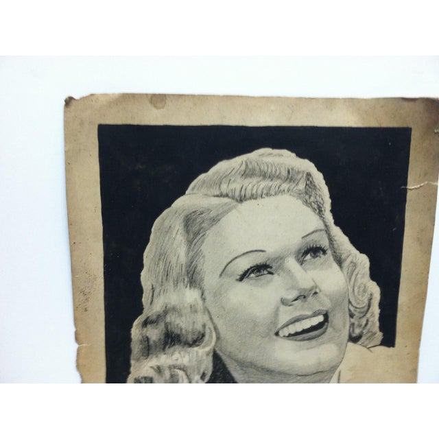 """Realism Vintage Original Drawing on Paper, """"Pretty Smile"""" by Clarance Young For Sale - Image 3 of 6"""