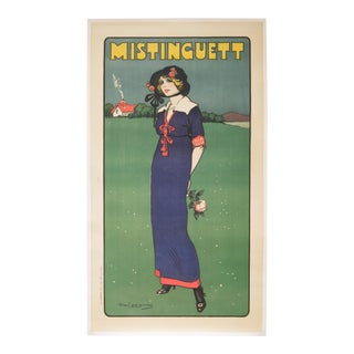 "Early 20th Century French Stone Lithograph ""Mistinguett"", Circa 1911 For Sale"