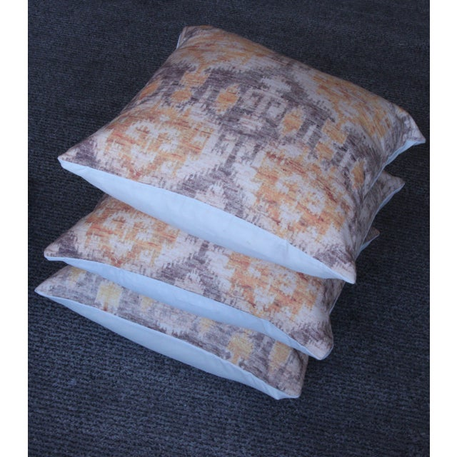 Yellow Vintage Ikat Print Pillows - A Pair For Sale - Image 5 of 6