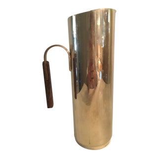 Vintage Italian Brass & Wood Pitcher