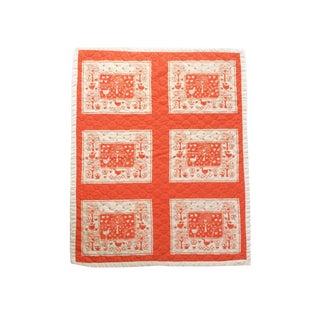 Vintage Orange Farm Animal Baby Quilt Reversible Blanket For Sale