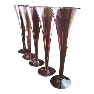 Amethyst Purple Hollow Stemmed Flutes - Set of 5