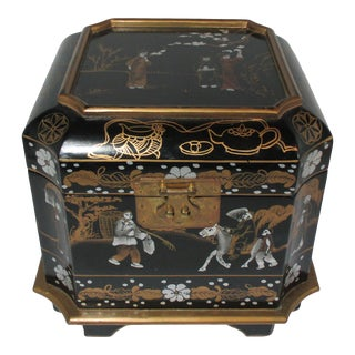 1980s Hand Painted Black and Gold Chinoiserie Box For Sale