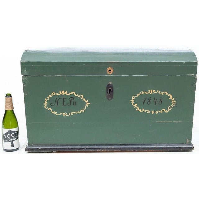 19th Century 19th Century Swedish Hand Painted Wooden Wedding Trunk Chest For Sale - Image 5 of 7