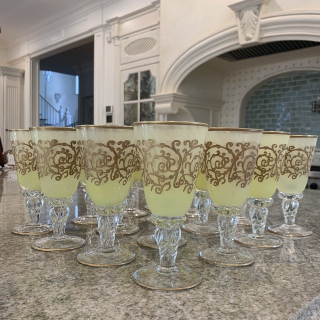 Hand-Blown Murano Chartreuse/Yellow Ombré Wine Glass Goblets - 4 Sets of 4 For Sale - Image 11 of 11
