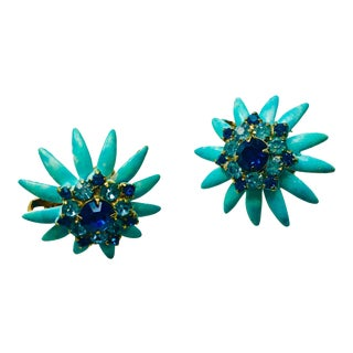 Vendome Turquoise Enamel and Blue Crystal Earrings - a Pair For Sale
