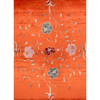 Carini Contemporary Floral Silk Rug - 10′ × 14′ For Sale