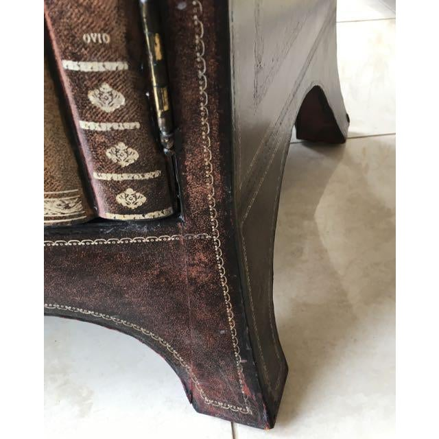 Maitland-Smith Book Spines Tooled Leather Cabinet For Sale - Image 10 of 12