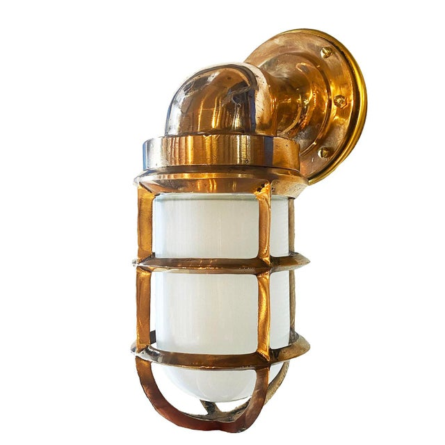 Solid Bronze Architectural Salvage Starboard Indoor / Outdoor Sconce For Sale - Image 4 of 5
