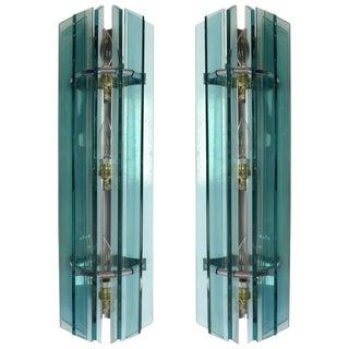 Veca Mid-Century Modern Pair of Italian Glass Sconces For Sale