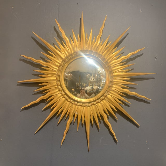 Gold Leaf Sunburst With Convex Mirror For Sale - Image 10 of 13