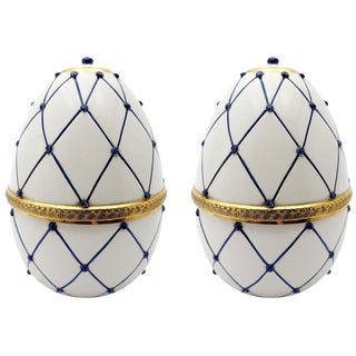 "Italian Ceramic Rete Blue & Gilt Bronze ""Egg Form"" Covered Box by Sigma L2-A Pair For Sale"