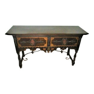 Console Table Side Board Spanish Colonial Style Table With Wrought Iron Stretcher Bar