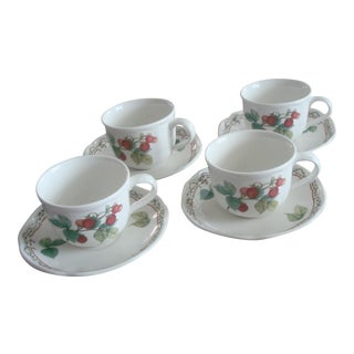 Noritake Cups and Saucers With Plums and Strawberries - Set of 4 For Sale