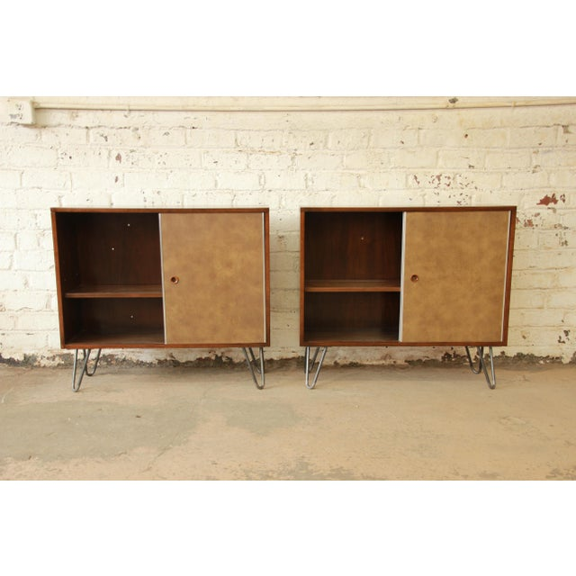 Paul McCobb for Calvin Small Cabinets on Hairpin Legs- a Pair - Image 6 of 9