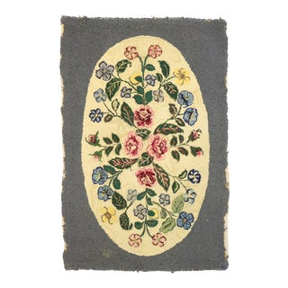 Antique American Floral Hooked Rug - 02'05 X 03'06 For Sale