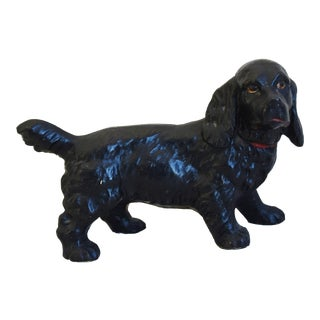 Original 1950s Vintage Cast Iron Dog Figure Doorstop For Sale