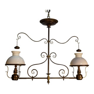 Antique oil lamp chandelier For Sale