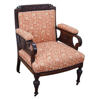 Victorian Carved Chair with Floral Upholstery For Sale