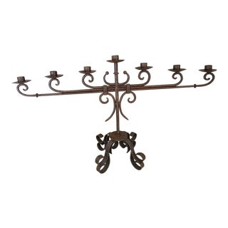 Handforged Iron Candleholder For Sale