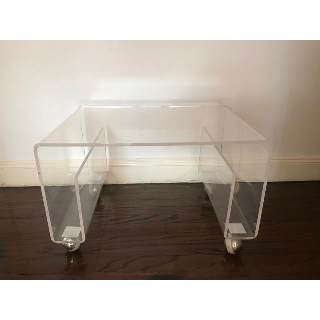 Lucite Side / Coffee Table With Magazine Rack on Wheels For Sale - Image 9 of 9