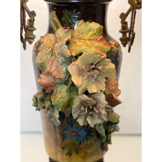 French 19th C. Over-Scale Lamp W/Dramatic 3-Dimensional Floral Details & Orientalist Bronze Mounts For Sale - Image 3 of 13