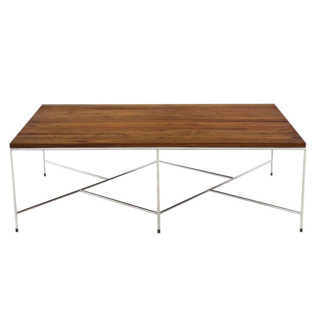 Mid-Century Modern Z Base Stainless Base Wood Top Coffee Table For Sale
