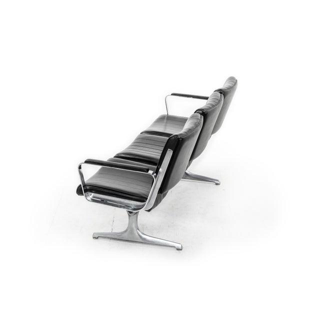 American Chromcraft Black 3-Seat Original Vinyl Airport Bench For Sale - Image 3 of 5