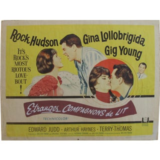 "1965 Original American Movie Poster - ""Strange Bedfellows"" (French Title: Etranges Compagnons De Lit) With Rock Hudson & Gina Lollobrigida For Sale"