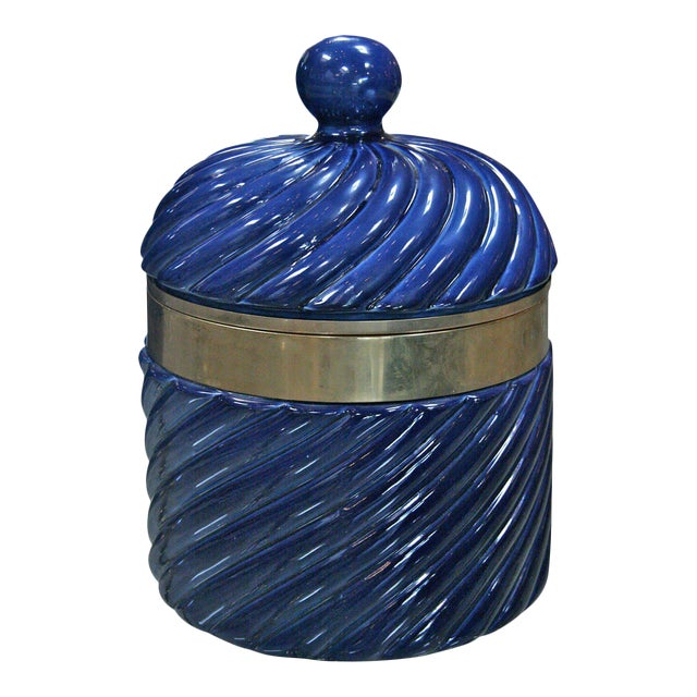 Ice Bucket in Blue Ceramic and Brass by Tommaso Barbi For Sale