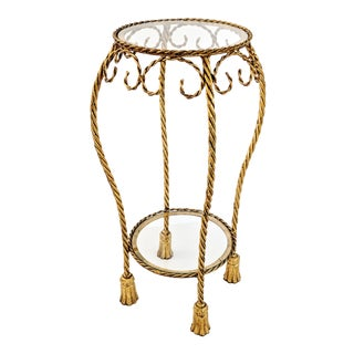 Hollywood Regency Rope and Tassel Gilt Round Side Table For Sale