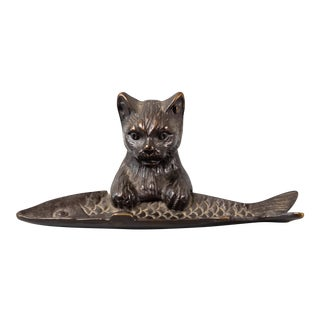 Antique French Bronze Cat & Fish Pen Tray For Sale