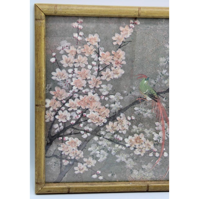 Asian Vintage Exotic Birds Print in Faux Bamboo Wood Frame For Sale - Image 3 of 8
