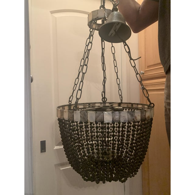Noir Noir Grey Beaded Chandelier With Grey and White Shell Trim For Sale - Image 4 of 13