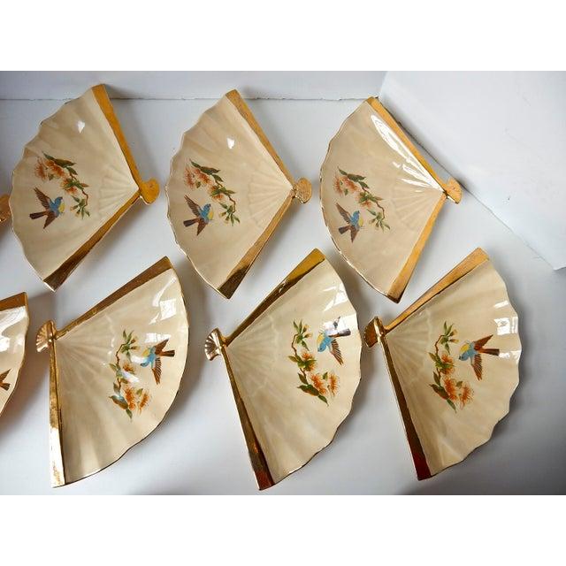 Ceramic Vintage Fan Shaped Plates - Set of 8 For Sale - Image 7 of 9