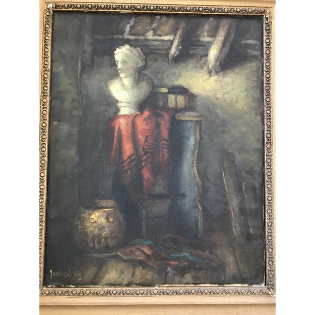 1950s Vintage Still Life with Marble Bust Framed Oil Painting For Sale - Image 6 of 10