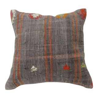 Vintage Handwoven Gray Turkish Kilim Pillow Cover For Sale
