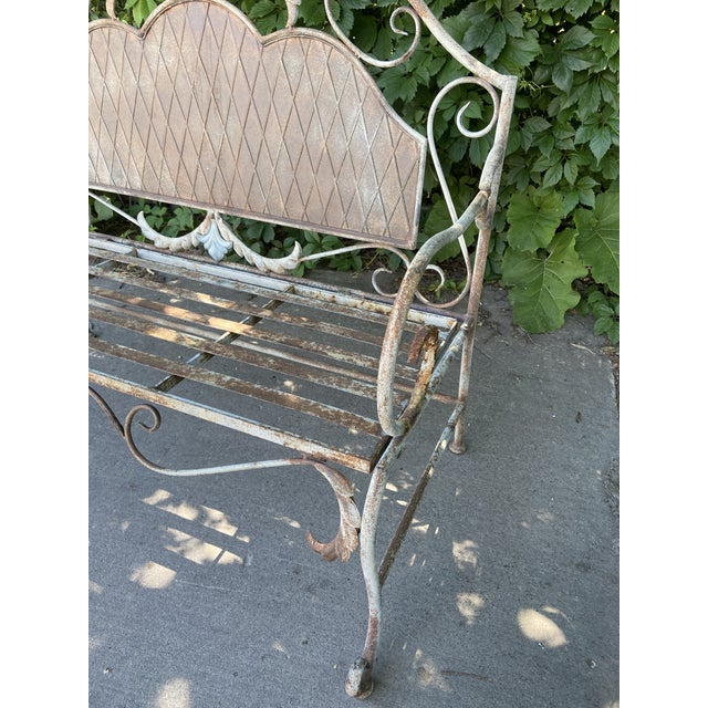 French Antique Wrought Iron Outdoor Folding Bench For Sale - Image 10 of 12