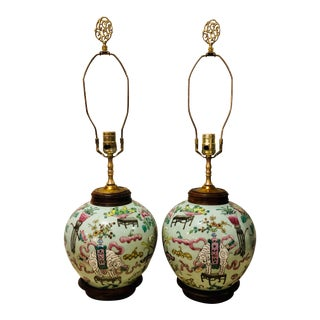 Antique Chinoiserie Hand Painted Lamps - a Pair For Sale