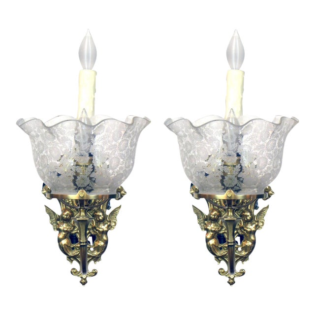 Pair of Gas and Electric Sconces For Sale