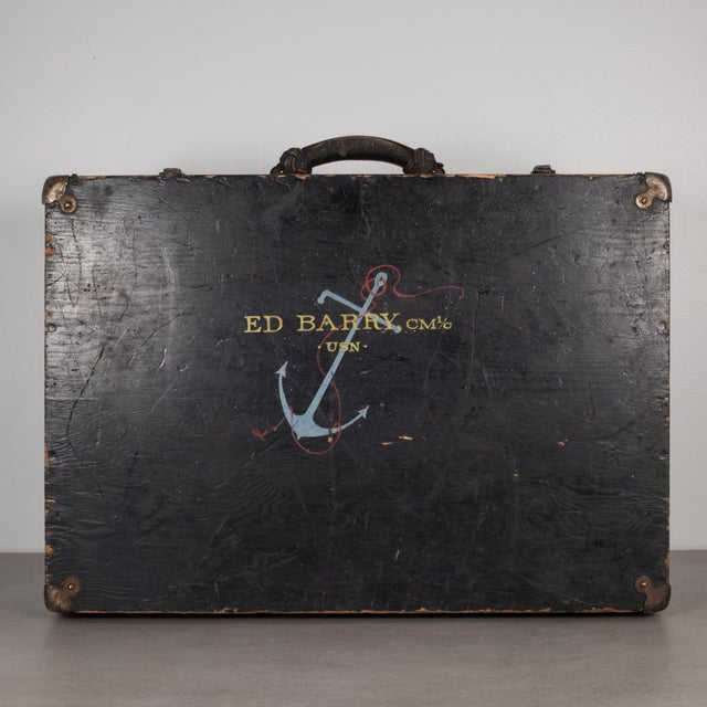 Hand Painted United States Navy Construction Mechanic Tool Box C.1940 For Sale - Image 9 of 9