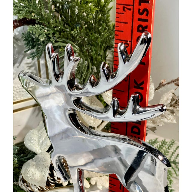 Metal Vintage Reindeer Silver Plated Stocking Hangers - Set of 2 For Sale - Image 7 of 9