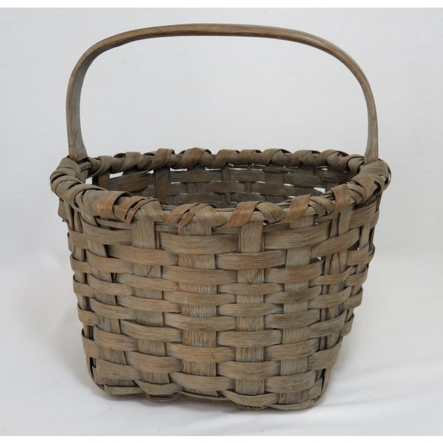 Americana 1900s Country Style Gray Basket For Sale - Image 3 of 13