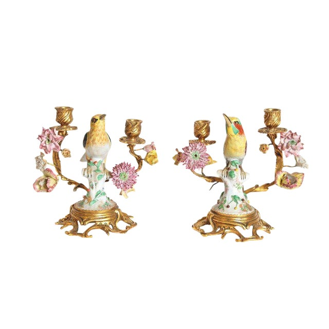 Pair of Early 20th Century Italian Porcelain Birds Mounted as Candelabra For Sale