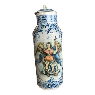 Ceramic Hand-Painted Urn For Sale