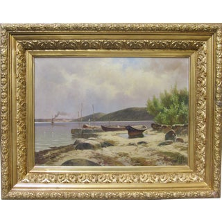 Late 19th Century Antique Signed European Impressionist Seaside Oil Painting For Sale