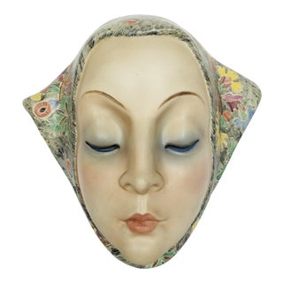 Helen Koenig Scavini Lenci Torino Polychrome Pottery Mask For Sale